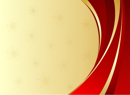 Red christmas background with golden ribbons