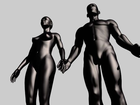 3d nude: man and woman
