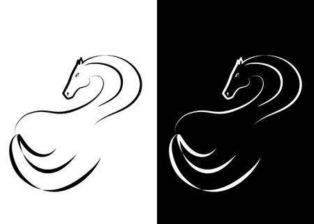 racehorse: black and white abstract horse