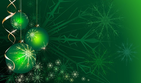 christmas bauble: green Christmas background Stock Photo