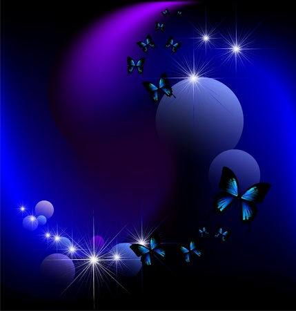 blue butterfly: magic background with butterflies