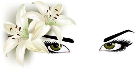 green eyes with lilies photo
