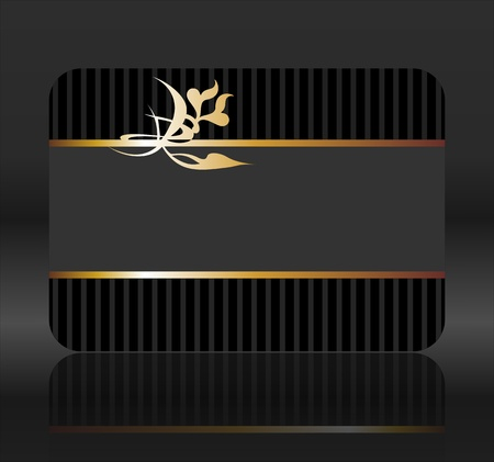 black gift card with golden ribbons Stock Photo - 11112589