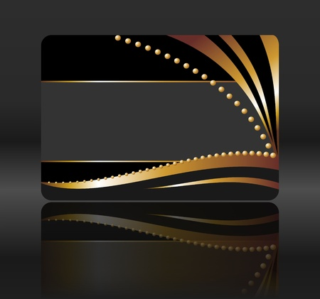 business event: black gift card with golden waves