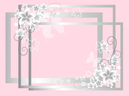 pink background with white flowers photo