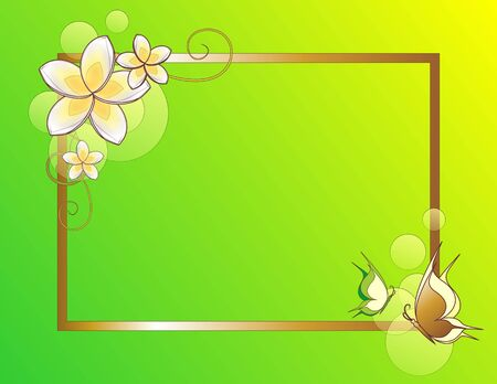 floral summer background with frame photo