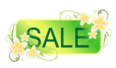 seasonal banner with flower frame and ecological sale photo