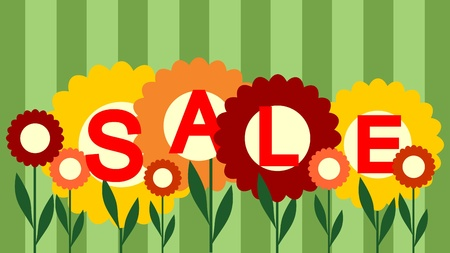 floral banner: seasonal sale background Stock Photo