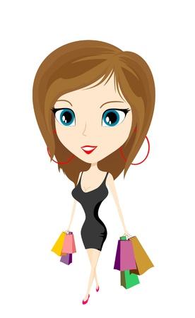 cartoon girl with bags Stok Fotoğraf - 12842554