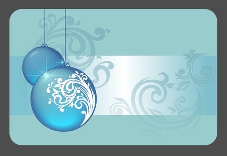 christmas gift card with blue balls