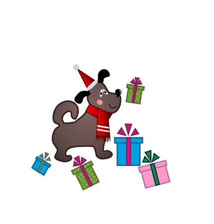 winter hat: funny puppy in Santa hat on winter background with presents