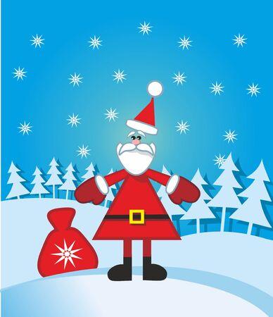 montañas caricatura: Funny Santa está listo para ir