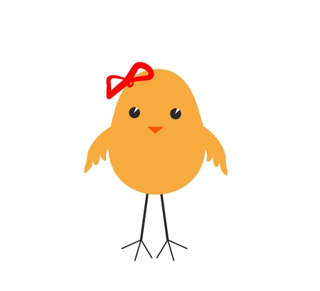 naive and funny girl-chicken, isolated