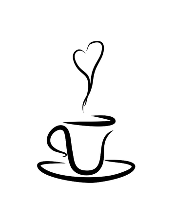 illustration of coffee (tea) cup with touch of aromatic smoke forming heart
