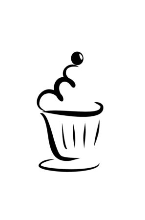 caf: close up of artistic sketch of a cupcake Stock Photo