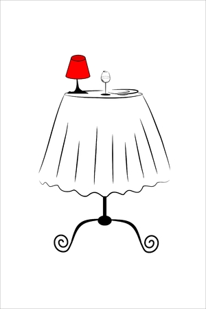 cafe table: small cafe table with empty glass and a red lamp and plate Stock Photo
