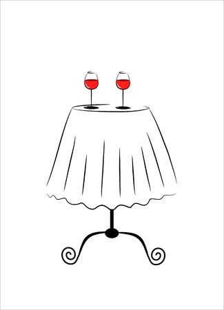 cafe table: small cafe table with two glass of red wine