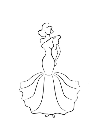young girl: sketch of glamorous young girl