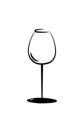 sketch of isolated empty wine glass