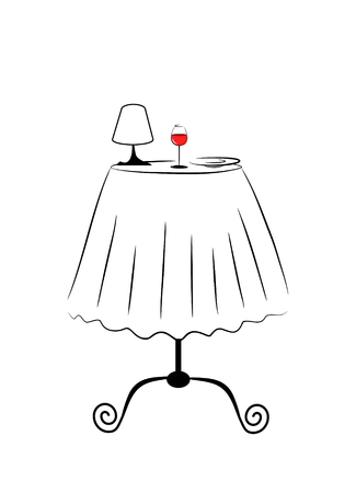small lamp: small cafe table with glass of red wine a lamp and plate Stock Photo