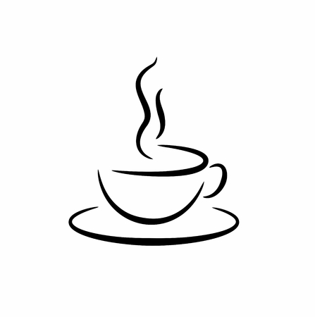steaming: sketch of a cup with hot drink