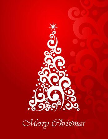 Christmas greeting with stylizad Christmas tree