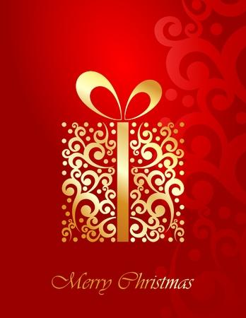 Golden Christmas present card