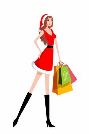 Santa girl with shopping bags Stock Photo