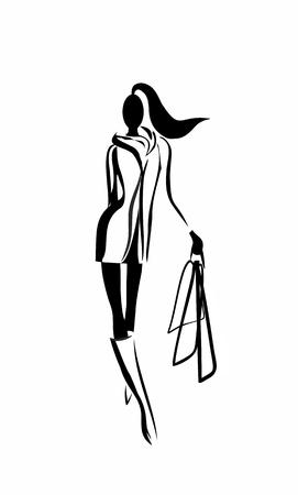 袋でスタイリッシュな女性のシルエット