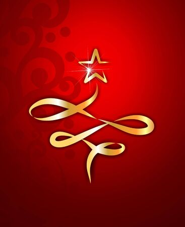 abstract golden christmas tree on a red background