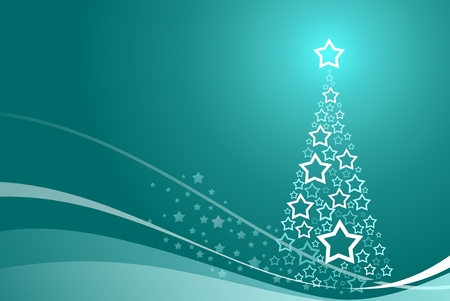 beautiful background with abstract christmas tree and stars