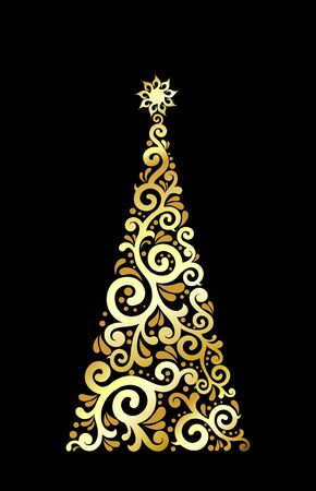 golden and luxury christmas tree Stock Photo