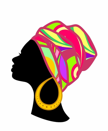profile of an African woman with colorful turban on a white background
