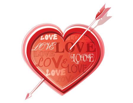 struck: Heart struck by Cupid Illustration