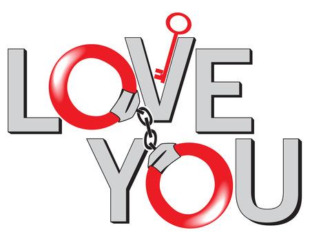 shackled: The bonds of love. Vector illustration
