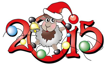 x mas background: Symbol of year 2015. Lovely lamb in Santa\\ Illustration