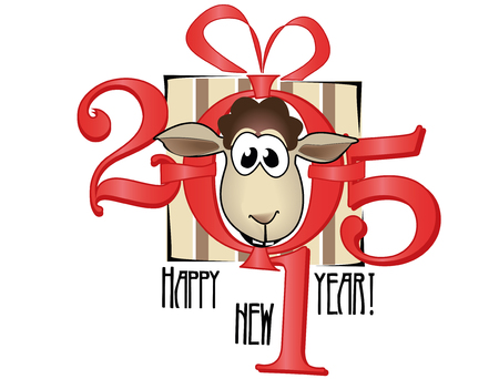 x mas background: Symbol of year 2015. Lovely lamb Illustration