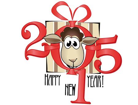 x mas: Symbol of year 2015. Lovely lamb Illustration