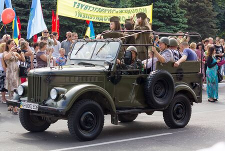 Makeevka, Ukraine - May, 9, 2012: Historic parade in honor of the anniversary of victory over fascism