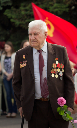 Makeevka, Ukraine - May, 9, 2012: Veteran of World War II during the celebration of the anniversary of the victory over fascism