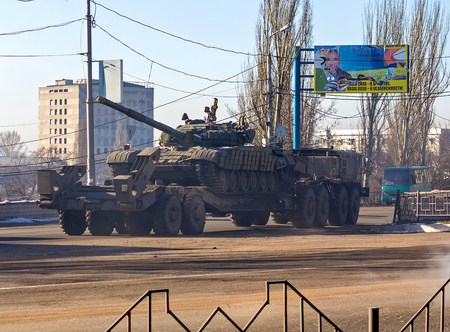 Makeevka, Ukraine - December, 12 February, 2015: Tank belonging to the separatists transported in rebellious Donetsk