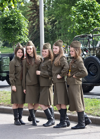 Makeevka, Ukraine - May, 9, 2012: Participants of the historical parade in honor of the anniversary of victory over fascism