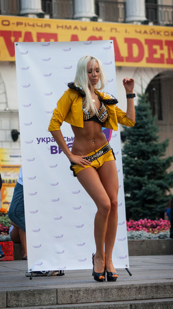 UKRAINE, KIEV - September 11,2013: incendiary dance dancer at the Independence Square during the action of the movement Ukrainian choice Editorial