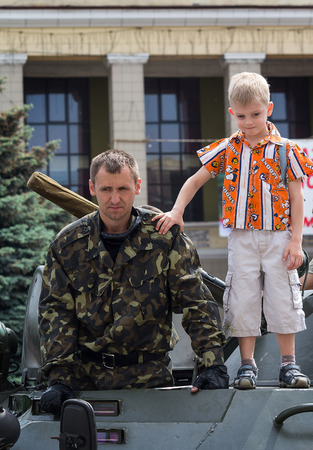 makeevka: Makeevka, Ukraine - May, 9, 2012: Celebrating the anniversary of the victory over fascism