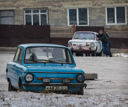 Makeevka, Ukraine - January, 29, 2015: Older models of the once popular brand of mass production and the USSR