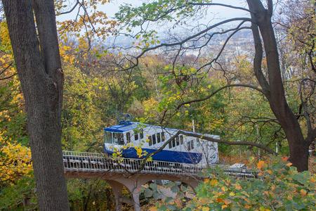 KIEV, UKRAINE - September, 23, 2014: Railway funicular is an autumn Kiev, Ukraine