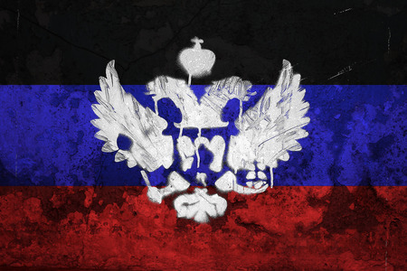 proclaimed: Flag of Donetsk Peoples Republic painted on cracked wall