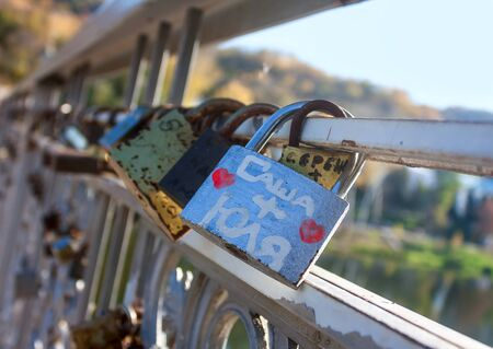 love proof: Names on the padlocks as a proof of love