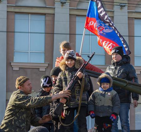 makeevka: Makeevka, Ukraine - February, 22, 2015: Celebrating Carnival under the banner of Donetskaya Peoples Republic