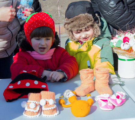 separatist: Makeevka, Ukraine - February, 22, 2015: Сhildren on holiday in honor of the arrival of spring in Donetsk Peoples Republic